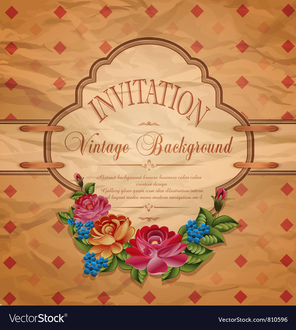 Vintage invitation with roses vector