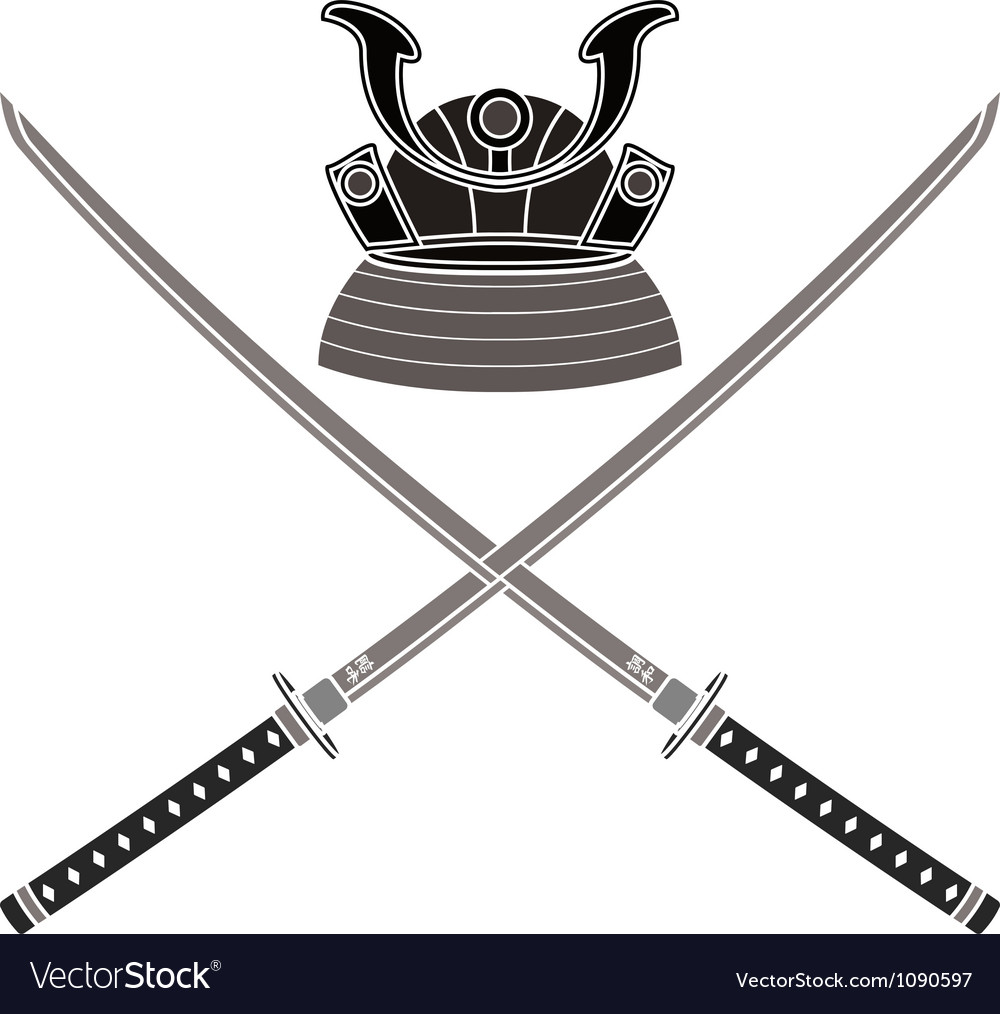 Japanese helmet and swords vector