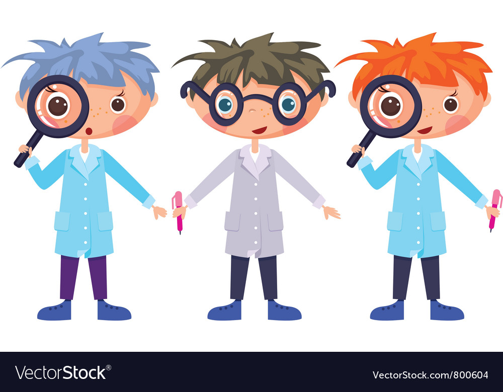 Cartoon scientists and magnifying glass eps10 cont vector