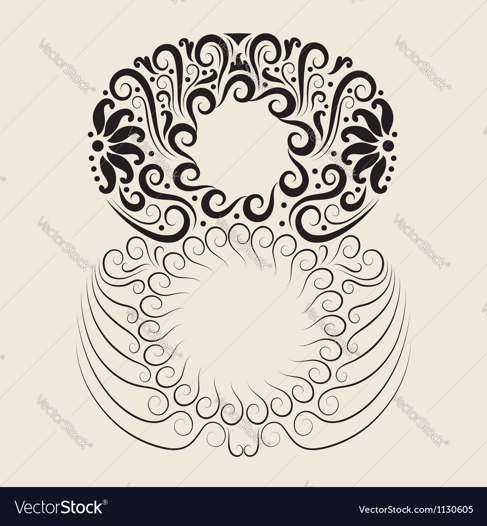 Number 8 floral decorative ornament vector