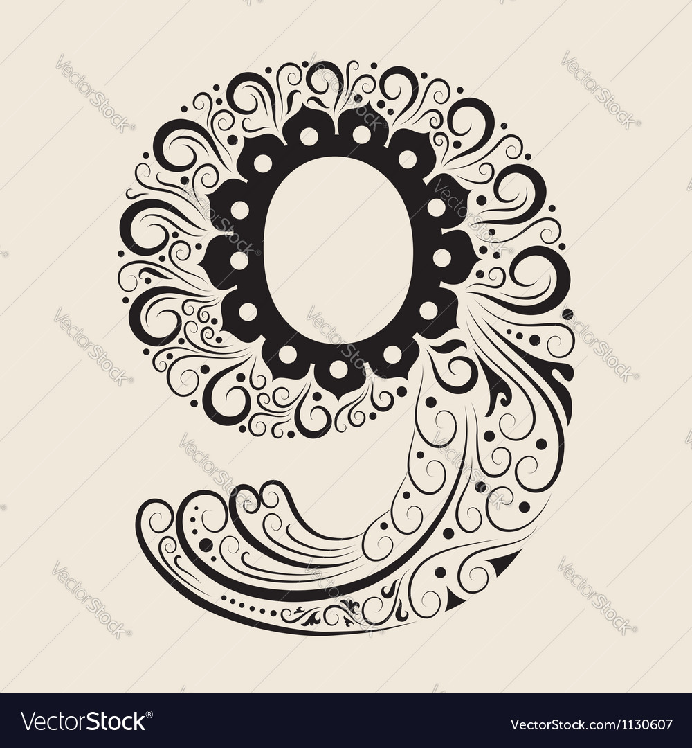 Number 9 floral decorative ornament vector