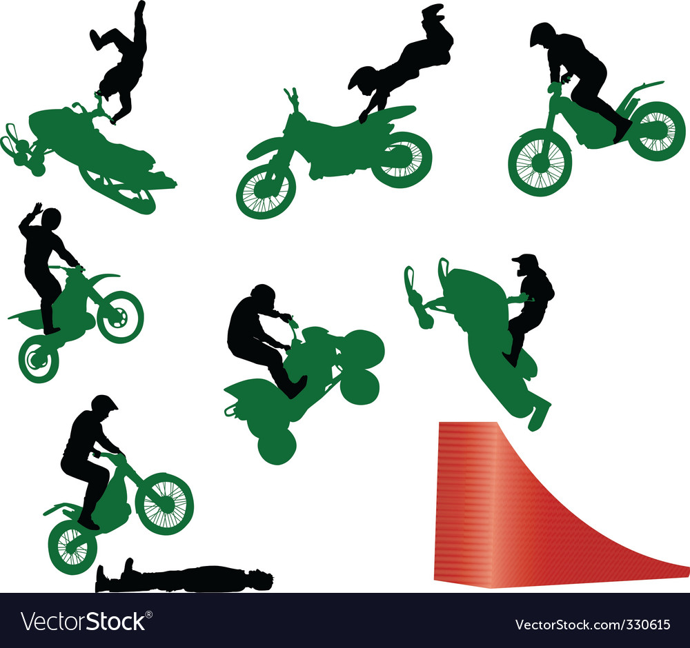 Stunt show on a motorcycle vector