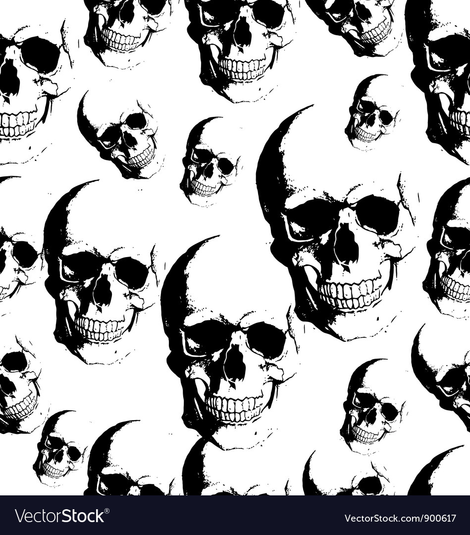 Skull seamless background vector