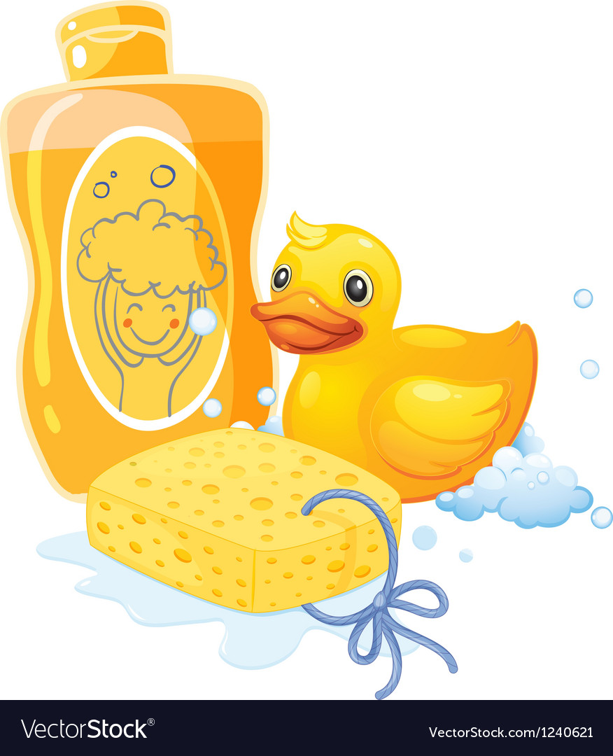 A bubble bath with a sponge and a toy duck vector