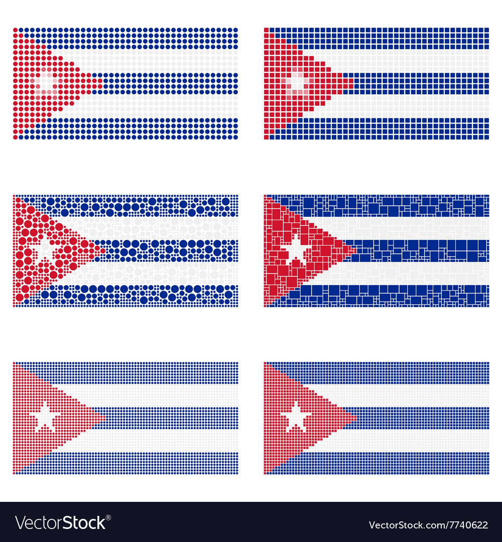 Mosaic cuba flag set