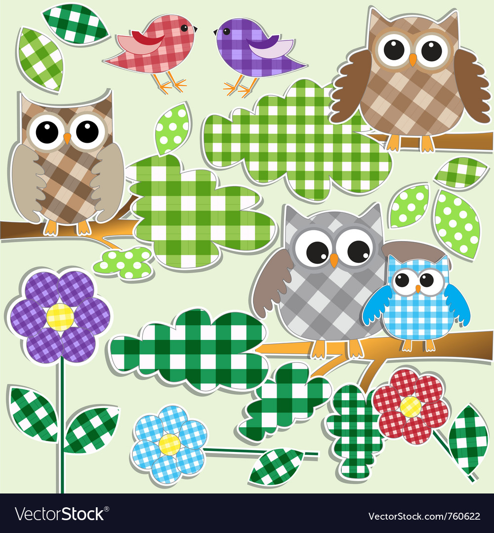 Owls and birds in forest vector