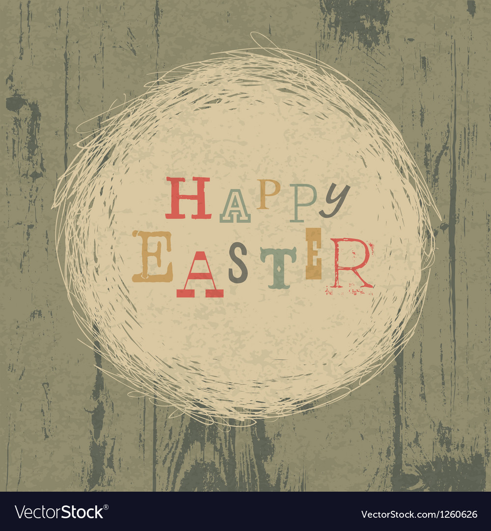 Vintage easter greeting card with nest vector
