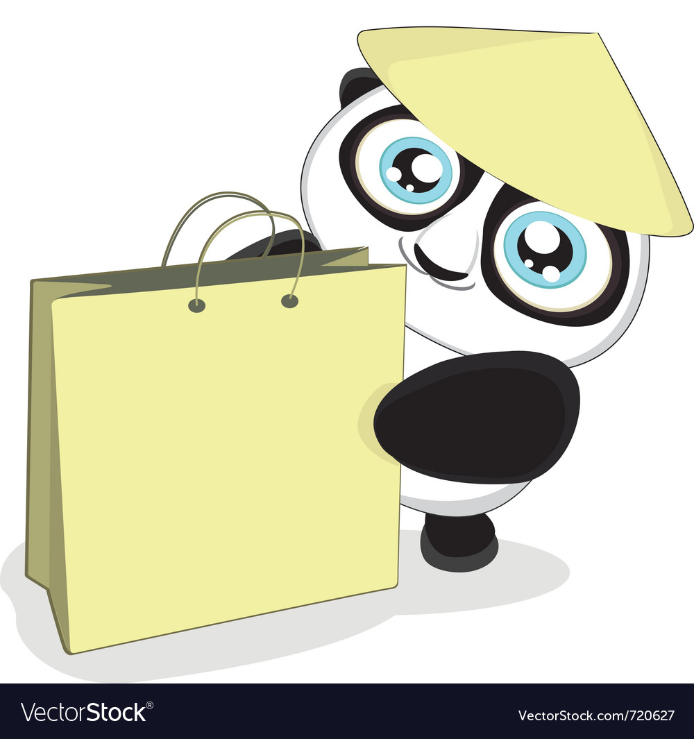 Cartoon panda with bag vector
