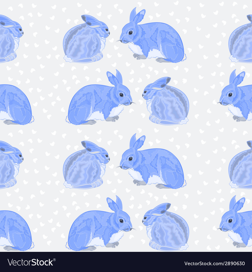 Seamless texture rabbits and snow