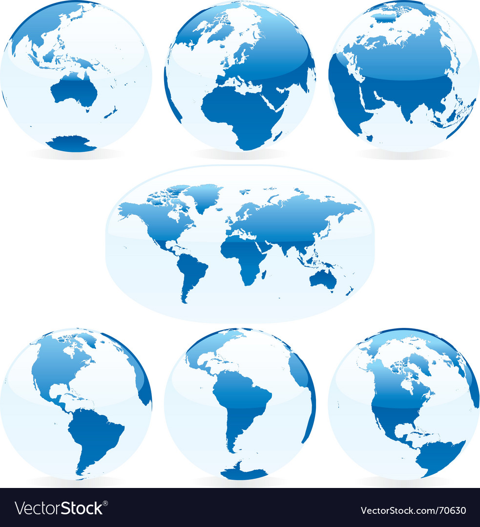 World globes and map vector