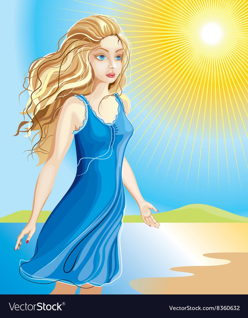 Beautiful girl walking along the beach