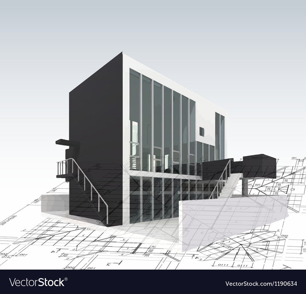 Architecture model house with plan and blueprints vector