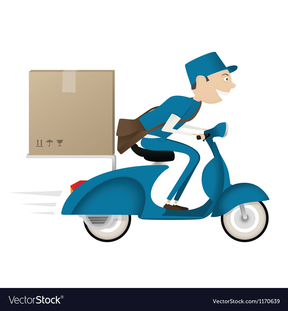 Funny postman delivering package on blue scooter vector