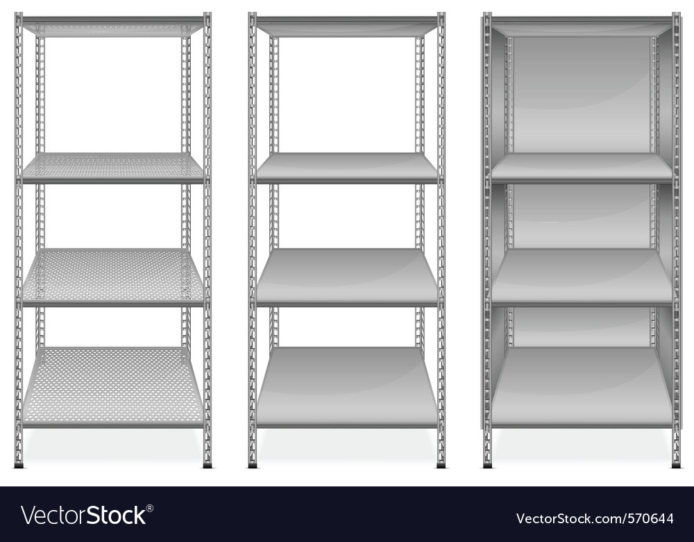 Empty bookshelves vector
