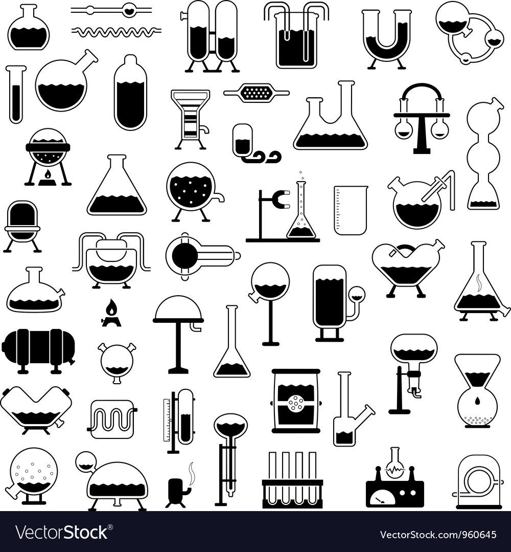 Set of cartoon mechanisms silhouettes vector