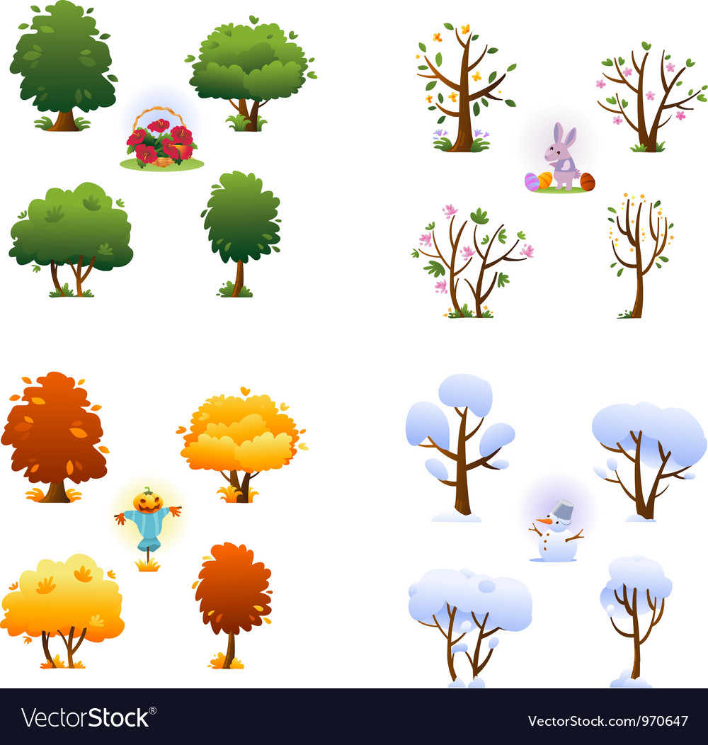 Set of four seasons vector