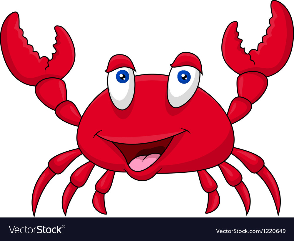Funny crab cartoon vector