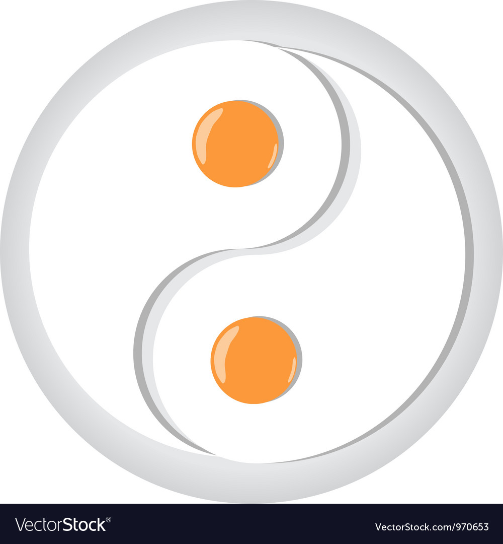 Yinyang symbol made from fried eggs on plate vector