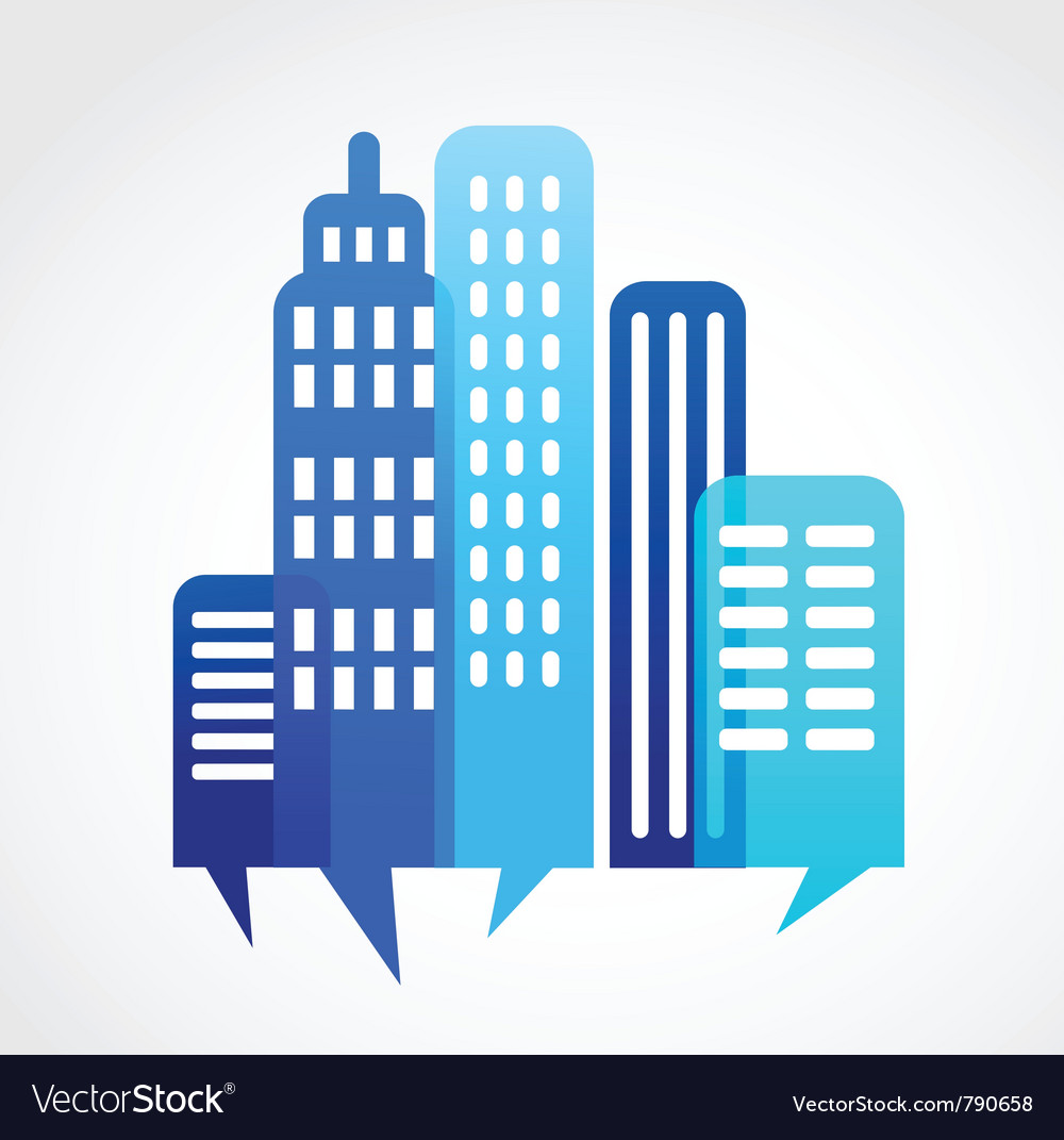Blue abstract cityscape with speach bubble vector
