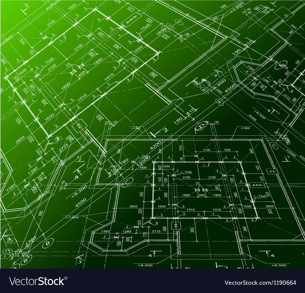 House plan on green background blueprint vector