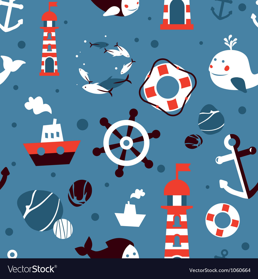 Seamless pattern with sea icons  abstract vector