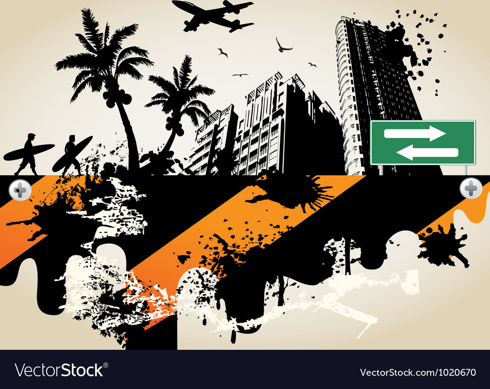 Summer palm city vector