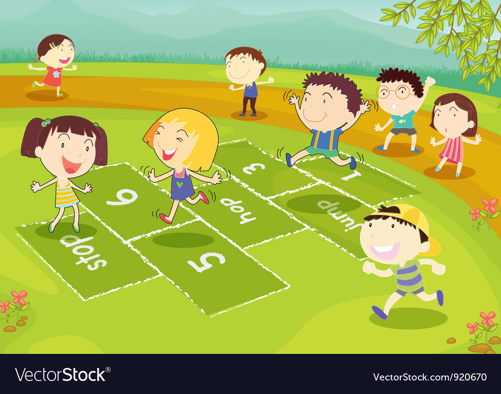 Young friends playing hopscotch vector