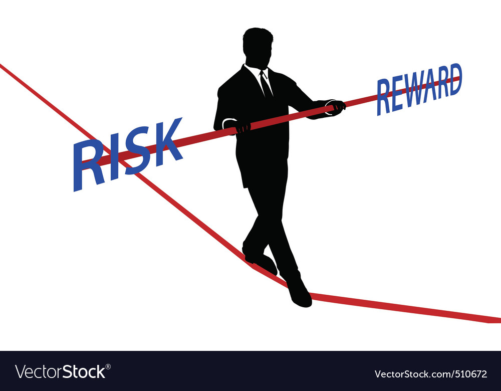 Business man tightrope balance risk reward vector