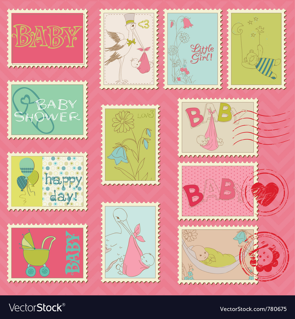 Baby girl postage stamps vector
