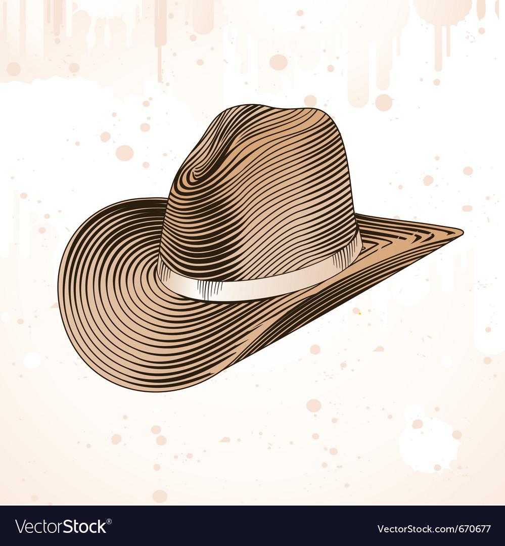 Cowboy hat in engraving style  vector