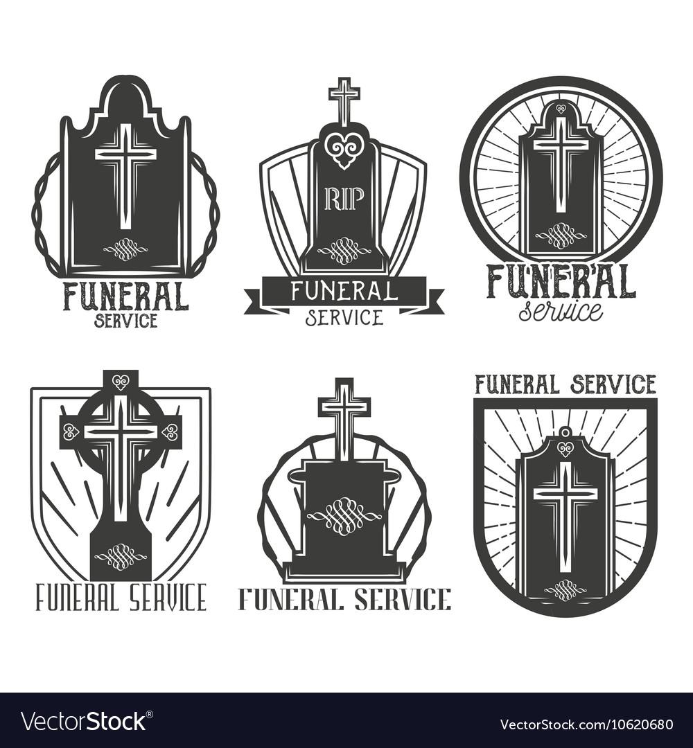 Set Funeral Service Logos Badges Emblems Vector By