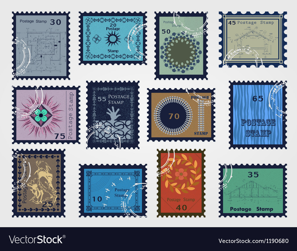 Stamp set for sale vector