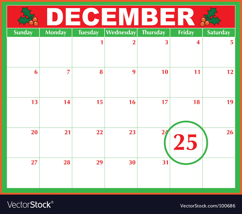 Christmas day calendar vector by mkoudis - Image #100686 - VectorStock