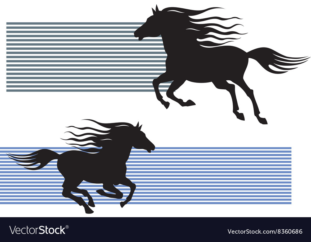 Silhouette of galloping horses