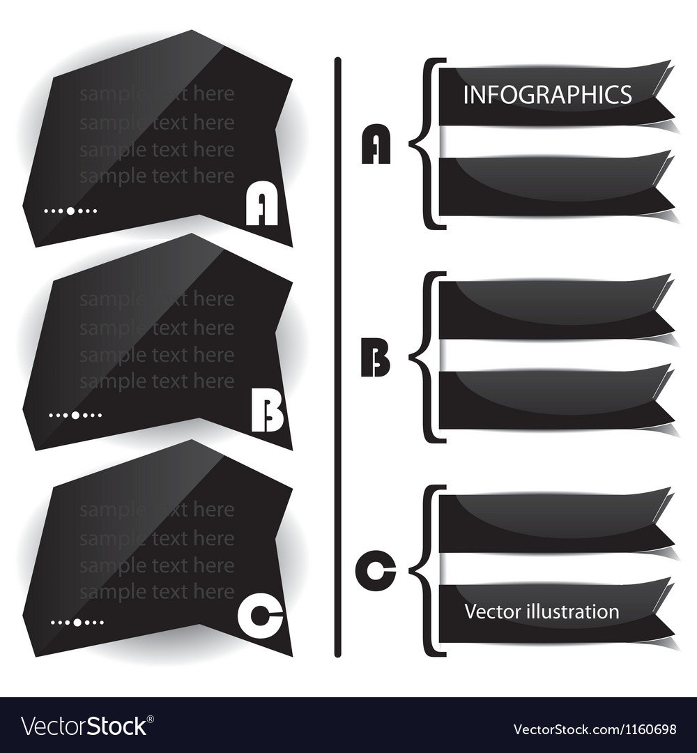 Black glossy panels presentations vector
