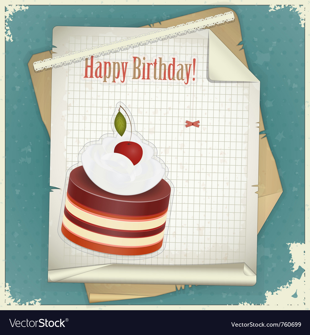 Chocolate cherry cake vector