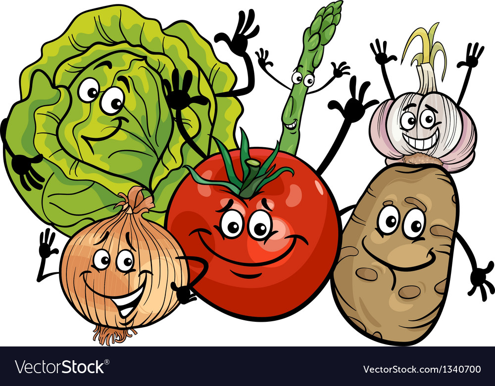 Vegetables group cartoon vector
