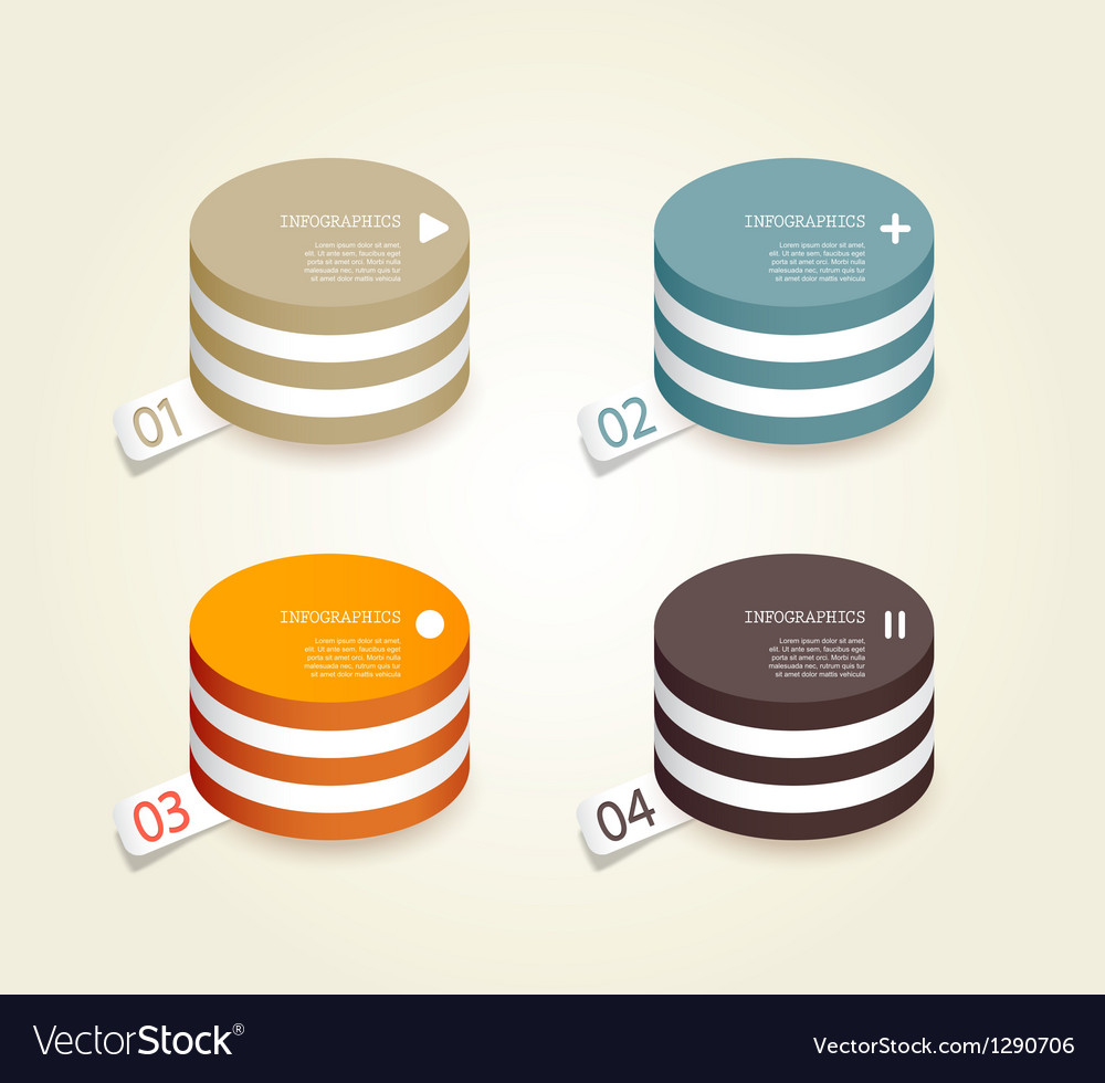 Four colored paper circles vector