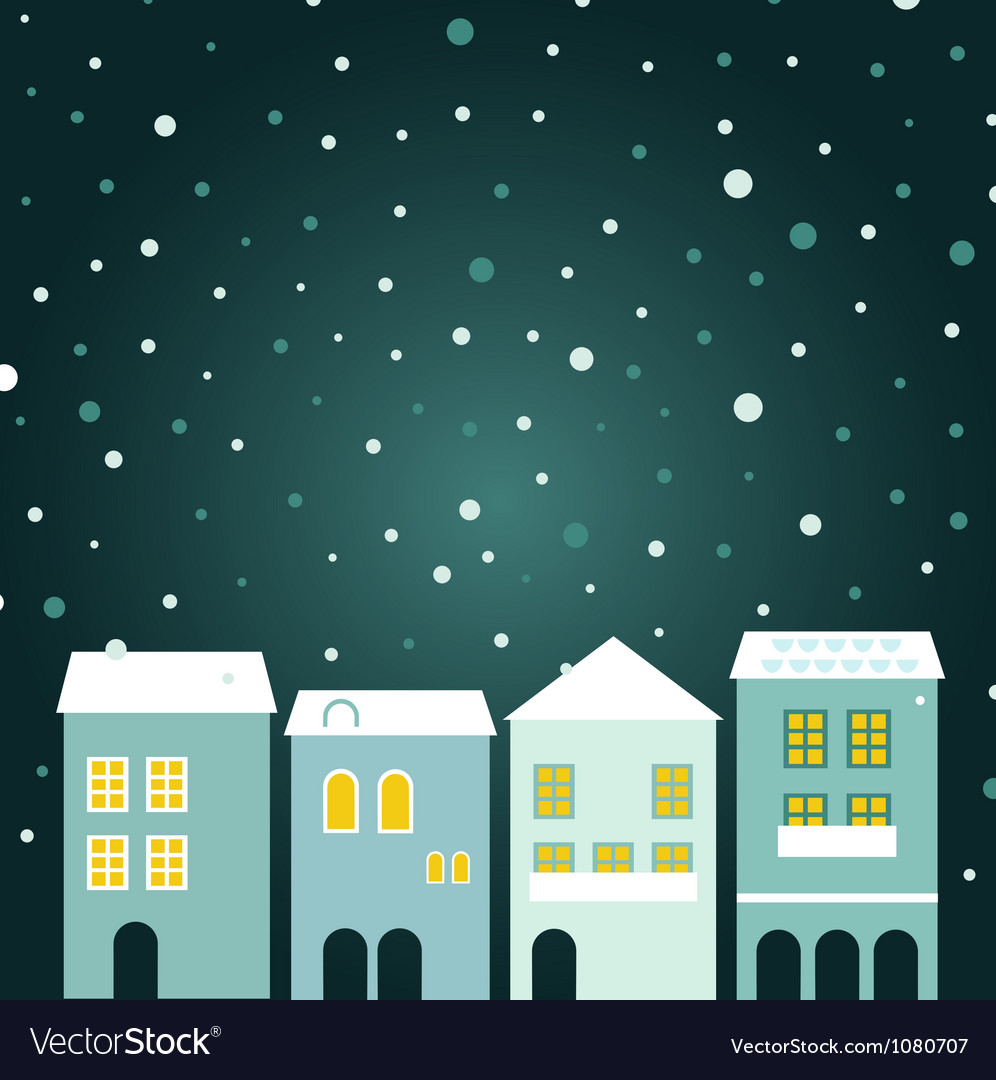 Christmas town on snowing background vector