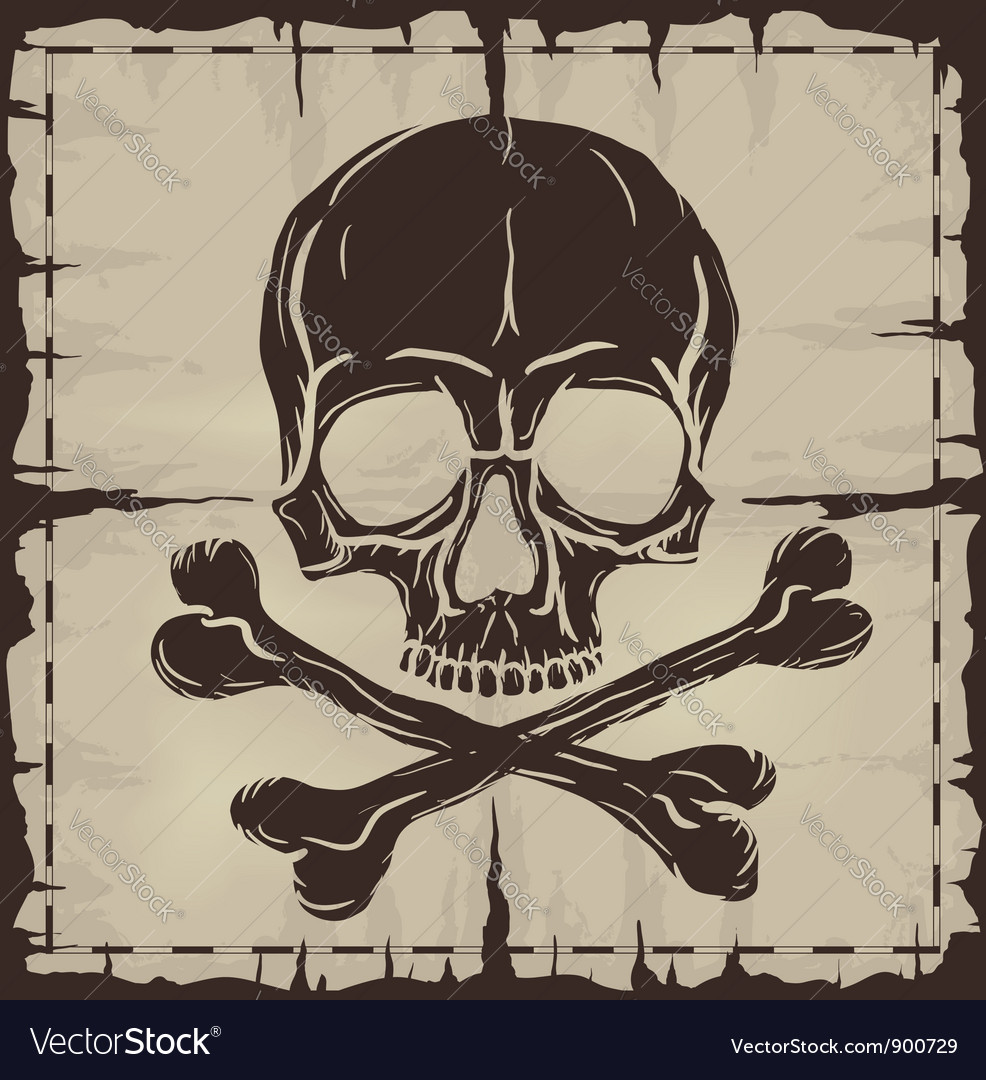 Skull and crossbones over old damaged map vector
