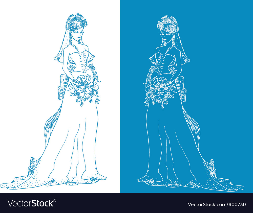 Free ornate bride silhouette hand drawing with bow vector