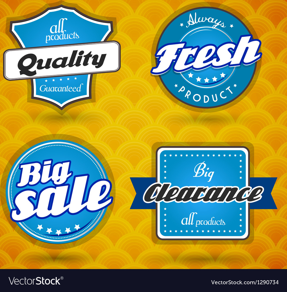 Set of blue labels vector