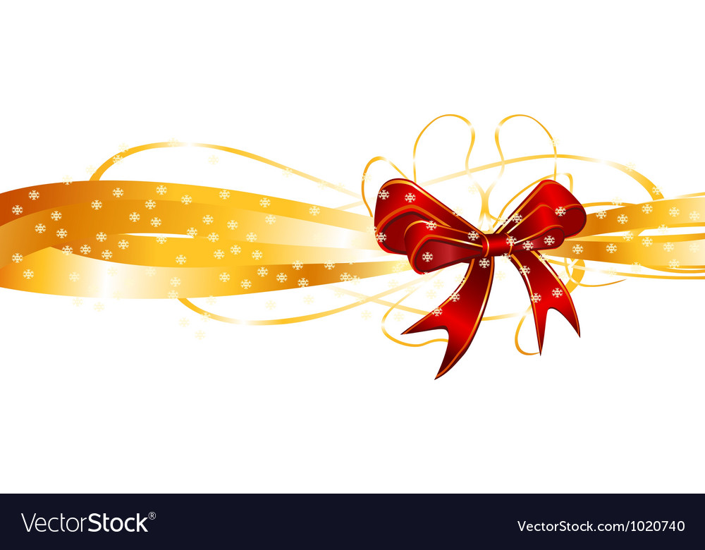 Red bow on a golden ribbon background vector