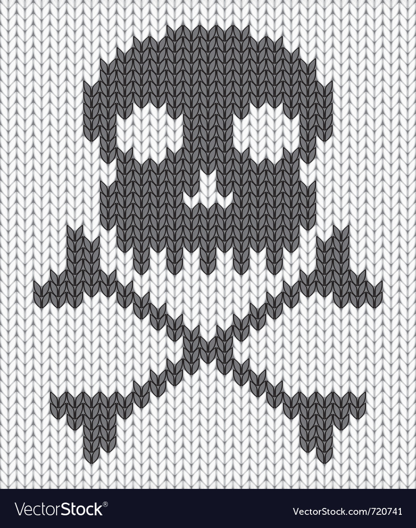 Knitted skull background vector