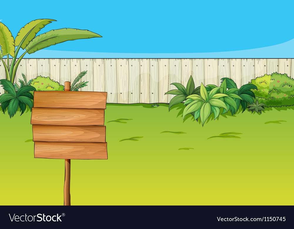 An empty signboard in the garden vector