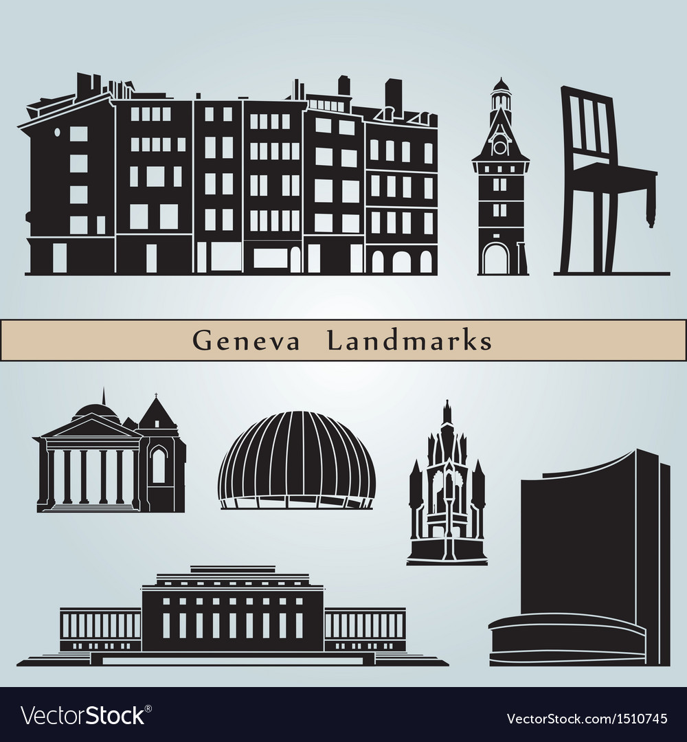Geneva landmarks and monuments vector