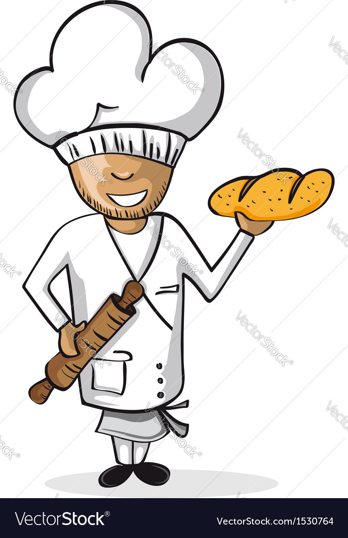 Profession baker worker cartoon figure vector