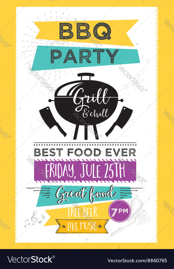 barbecue party invitation bbq template menu design vector by marchie image 8860765 vectorstock. Black Bedroom Furniture Sets. Home Design Ideas
