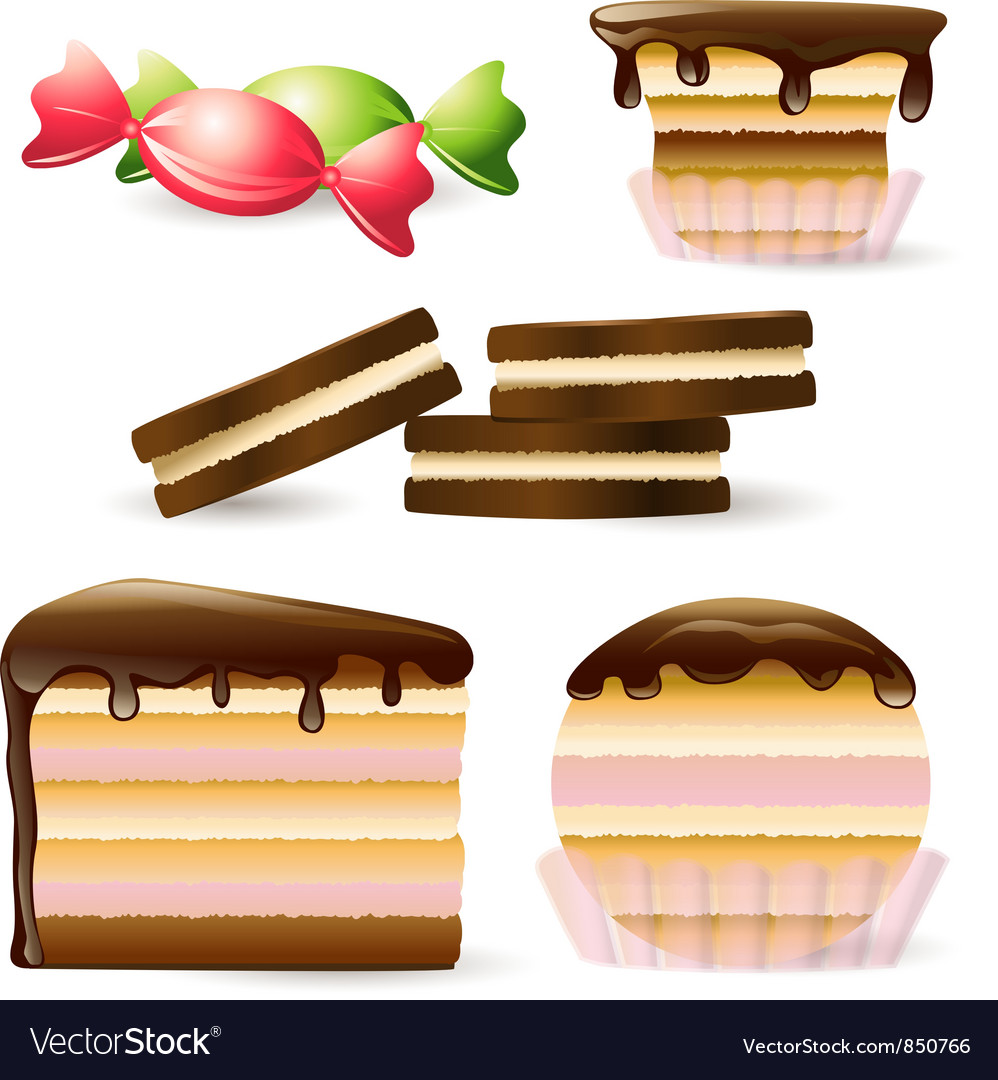 Cake and biscuits vector