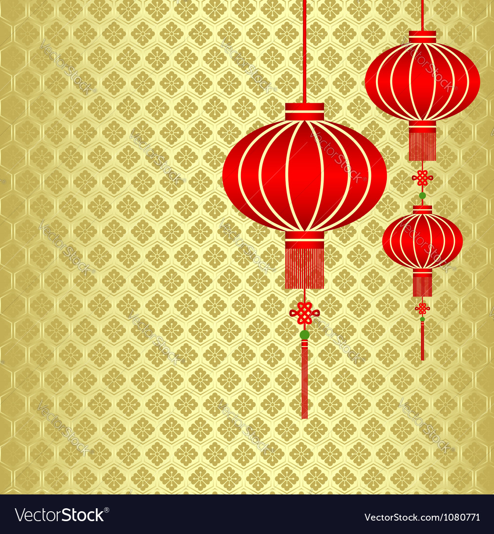 Red chinese lantern vector